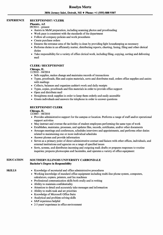 Front Desk Clerk Resume Lovely Receptionist Clerk Resume