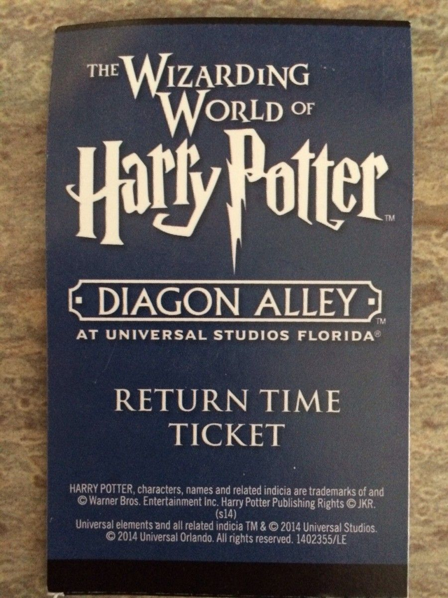Sample Return Time Ticket For The Wizarding World Of Harry Potter Harry Potter Diagon Alley Wizarding World Wizarding World Of Harry Potter