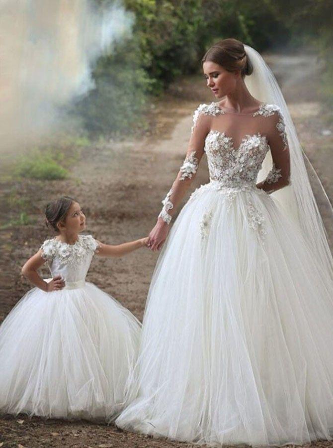 Glamorous A-Line Bateau Long Sheer Sleeves Flowers Wedding Dress ...