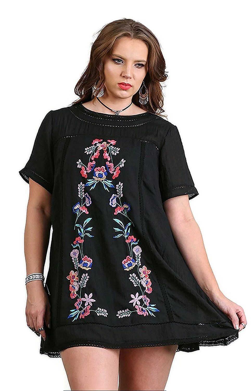 umgee women's boho chic a-line floral embroidered dress plus size