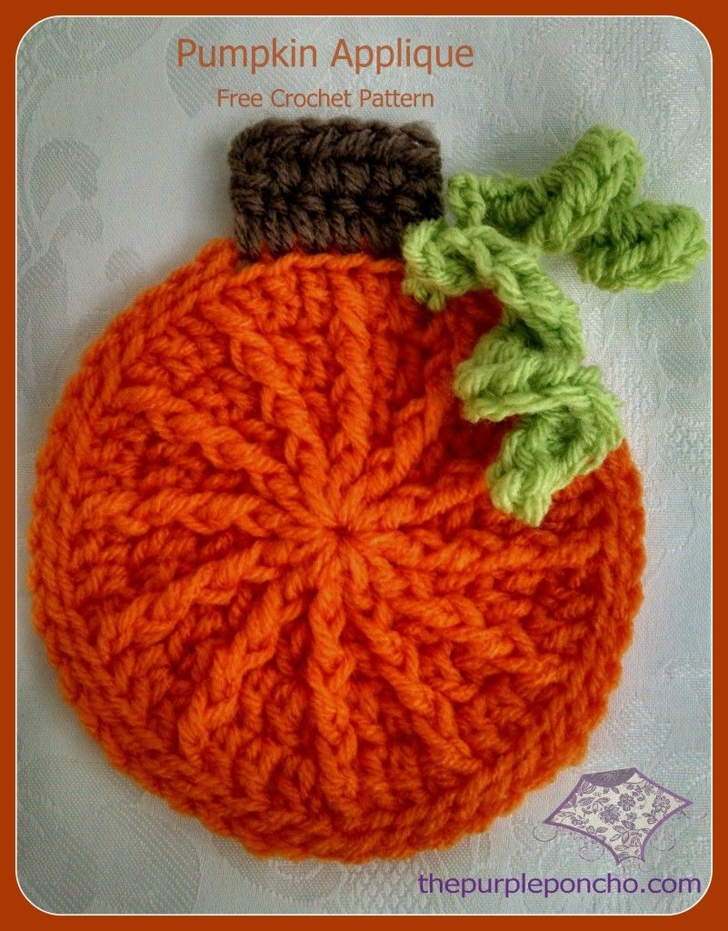 Crochet Pumpkin Applique - Free Crochet Pattern - The Purple Poncho ...