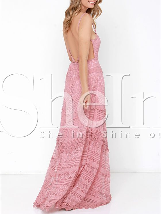 Pink Spaghetti Strap Backless Lace Maxi Dress 29.99