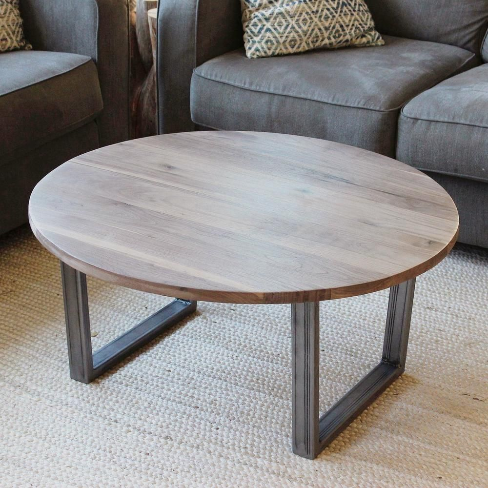 Round Walnut Wood And Metal Coffee Table Tube Steel Legs Jw Atlas Wood Co Coffee Table Round Wood Coffee Table Wrought Iron Furniture [ 1000 x 1000 Pixel ]