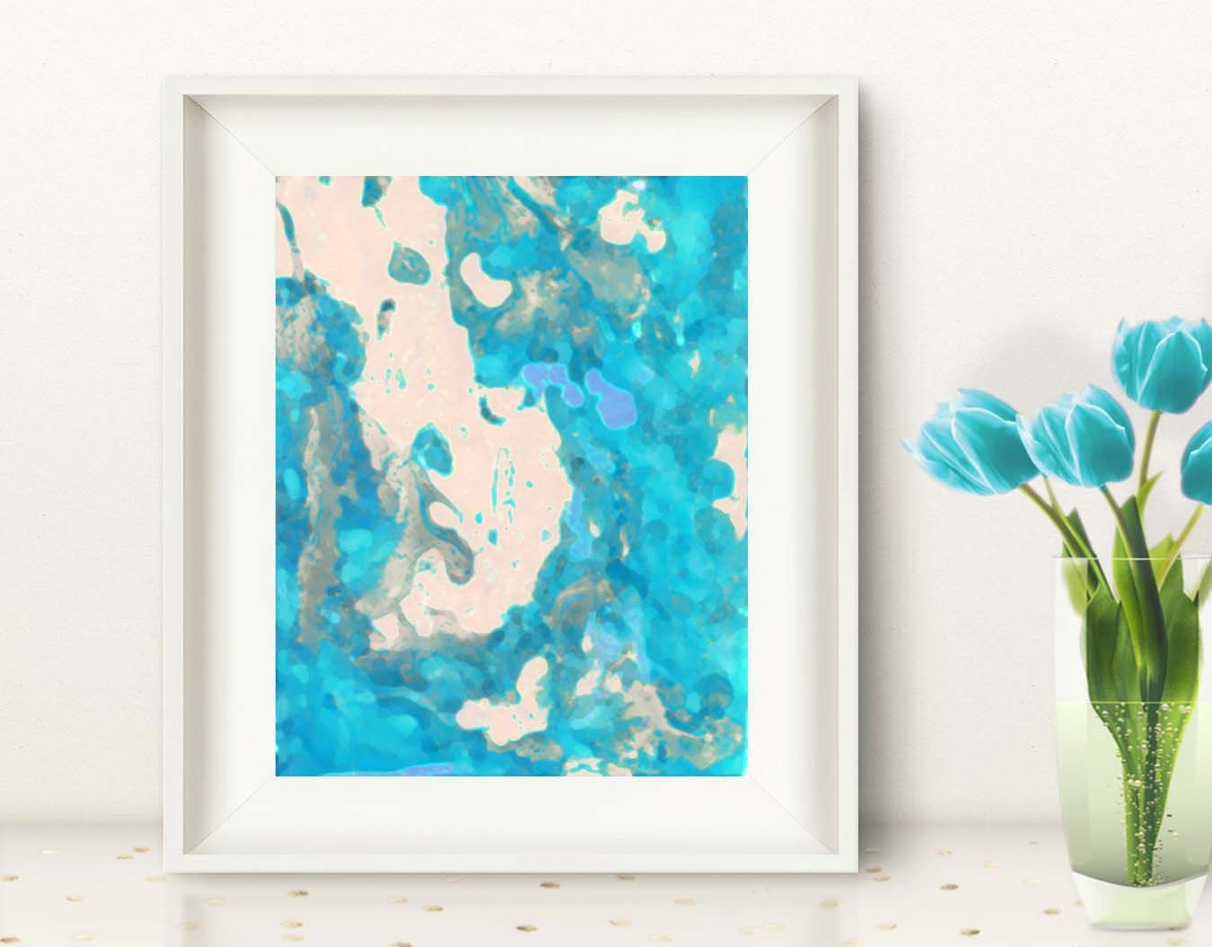 Watercolor Abstractart Turquoise Print Teal Azure Painting