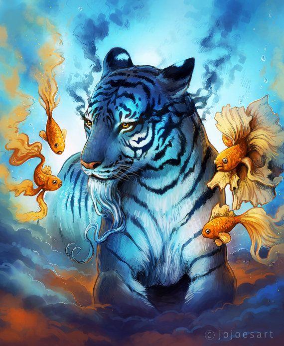 Dream Signed Art Print Fantasy Tiger Fish Painting Underwater Surreal Digital Artwork By Jonas Jodicke Tiger Fish Animal Canvas Art