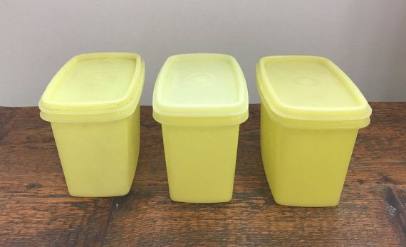 Vintage Tupperware Set Of 3 Yellow Storage Containers With Lids 1243 And  1244