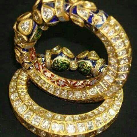 babd80a2e8957 Kanga kundan n meena | jewellery in 2019 | Kundan bangles, Bangle ...