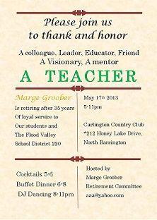 Teacher Retirement Party Invitations Retirement Party