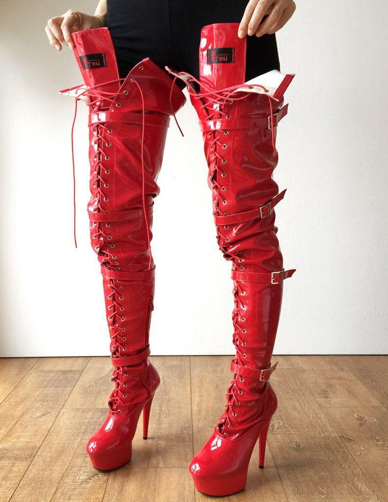 70d4ec75c676 15cm Platform Laceup Crotch Half Zip Boots Goth Punk Pinup Harley Quinn  Cosplay BDSM