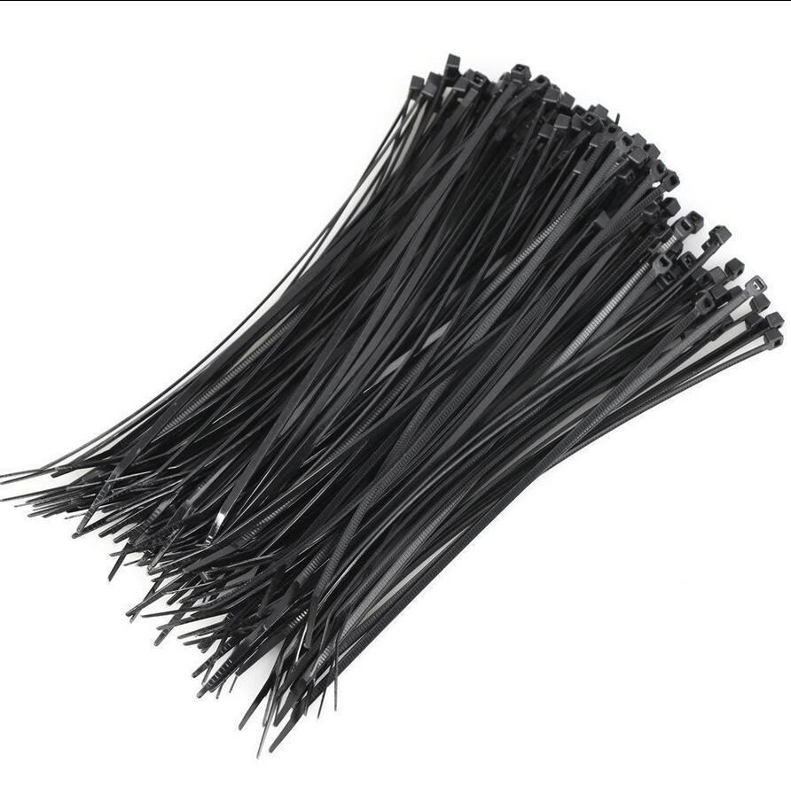 100PCS Cable Tie Black Plastic Zip Fasten Wraps Wire Tidy 200MM X 2.5MM #Unbranded