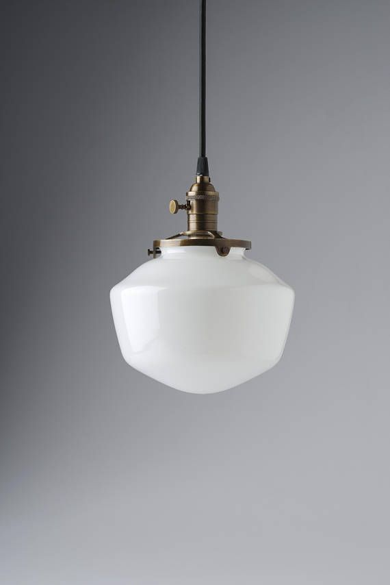 Schoolhouse Style 8 White Gl Shade Light Pendant Fixture