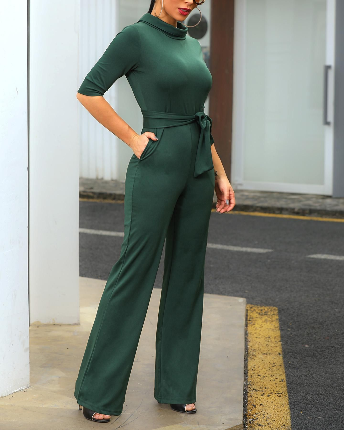 Solid Mock Neck Pocket Design Jumpsuits Lace Dress With Sleeves Clothes Jumpsuits For Women