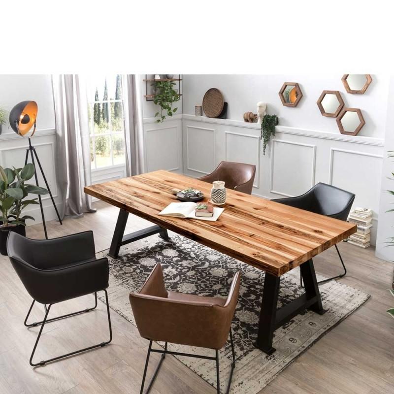 Topp Essgruppe Fur Vier Personen Mit Design Tisch Im Loft Style Tischplatte Aus Massiver Balkeneiche Am Rand Auf 6cm Gartenmobel Sets Design Tisch Stuhle