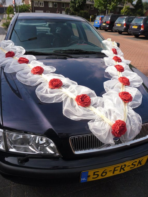Pleated Organza Ribbons With Silk Roses Wedding Car Decoration