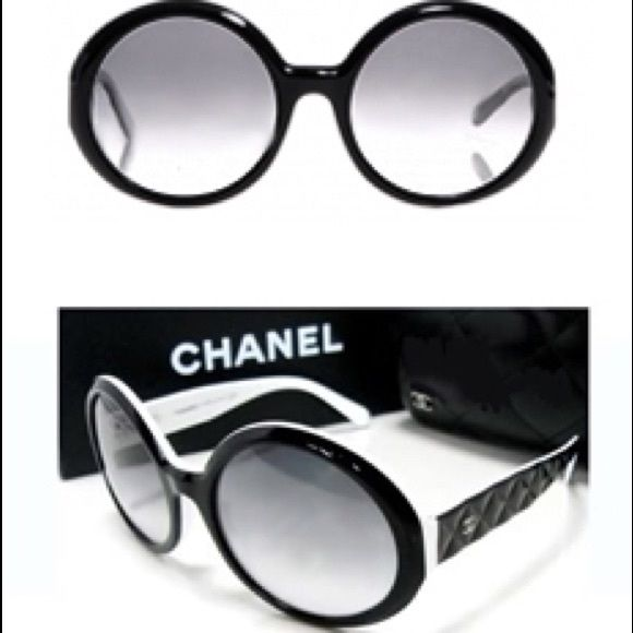 release date: quality design wide range AUTHENTIC CHANEL Sunglasses!! Black/white, plastic, round ...