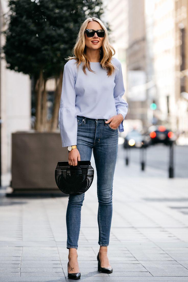 Fashion jackson street style blue bell sleeve top levius mile