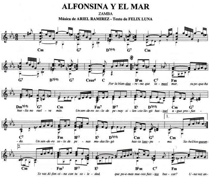 Alfonsina1 Jpg Partituras Guitarra Pinterest Ariel
