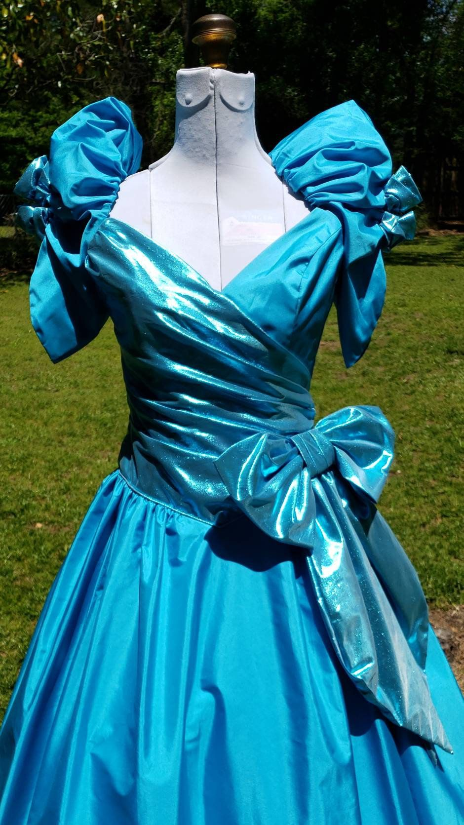 80s Prom Dress Light Blue Metallic Puffy Sleeves 80s Prom Dress Dresses 80s Prom [ 1671 x 940 Pixel ]
