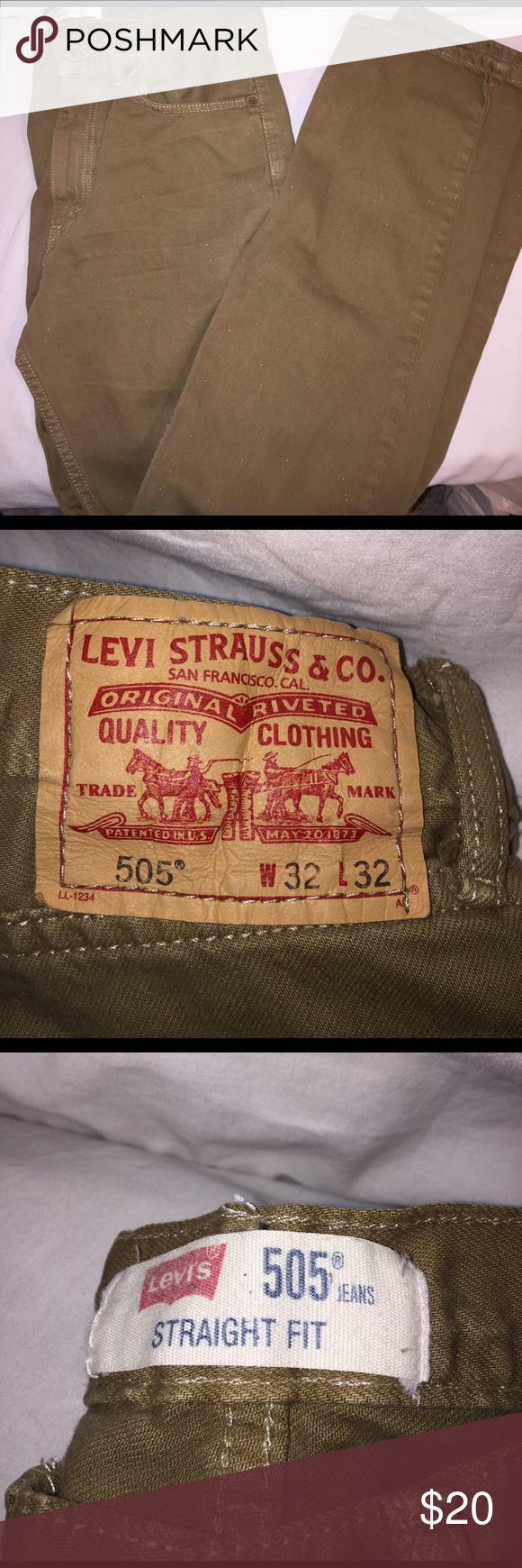 Levi's 505 straight fit jeans Great gently worn tan 505 straight fit jeans. Size 32W 32L Levi's Jeans Straight