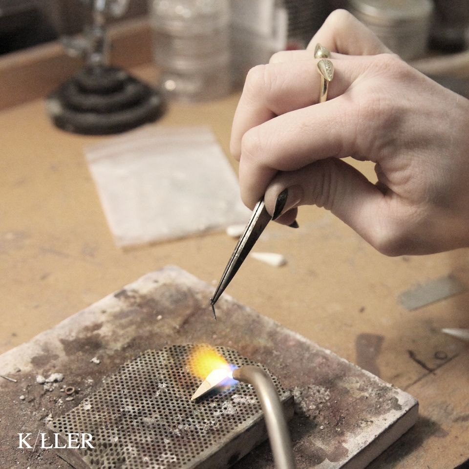 K/LLER COLLECTION PROCESS / STONED 18K VERMEIL DOUBLE SPIKE RING