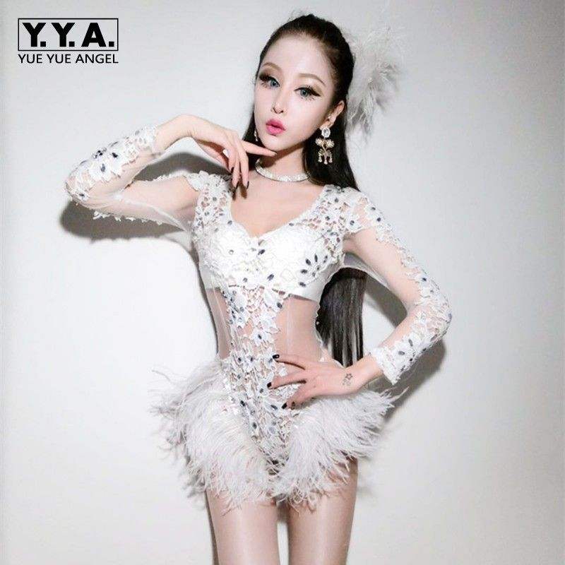 816c7493e65 Click to Buy << New 2017 Hot Sexy Women Stage Outfit Clothes Female Singer  Star Costume Dance Stage Costumes For Singers Lace Floral Mesh Roupas  #Affiliate