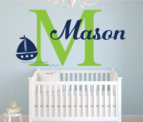 name wall decal - sailboat wall decal - nautical wall decal - custom