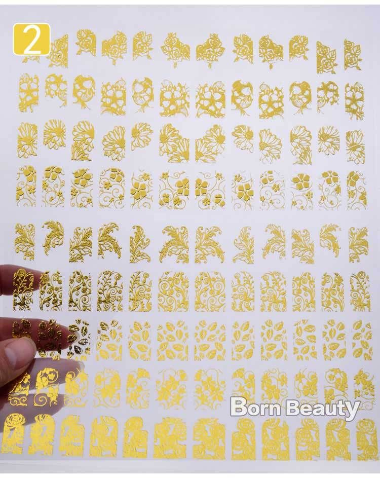 3d Gold Nail Stickers 108pcs/sheet Metallic Nail Art Decoration Tools Flower Designs Fashion Manicure Nail Decals [Affiliate]