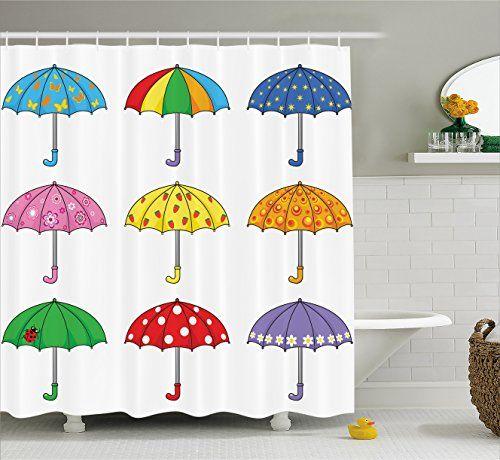 Apartment Decor Shower Curtain By Ambesonne Rainbow Umbrellas With Ornate Polka Dot Butterfly Star Ladybug Bathroom