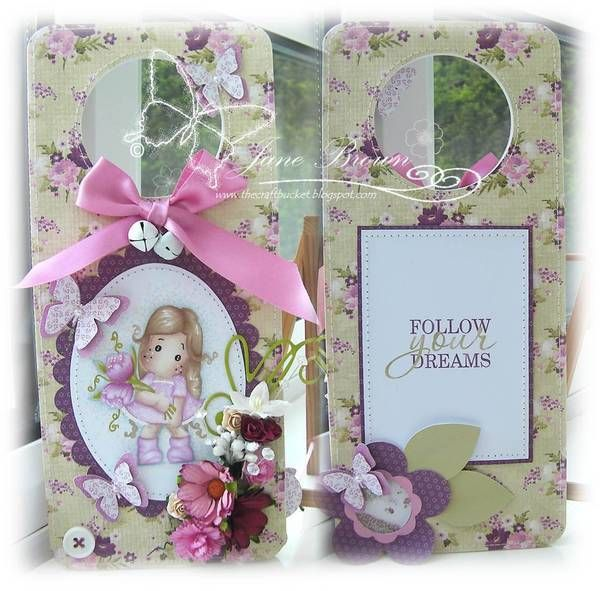 Cute door hanger card in beautiful floral pattern.  What a wonderful gift!! #cardmaking Papers used to create this are from Beautiful Collection by Nitwit Collections™