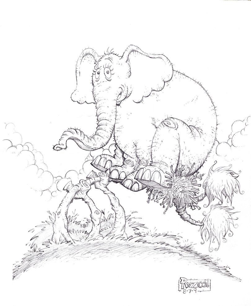 Who Horton The Elephant Coloring Page Free Printable Coloring