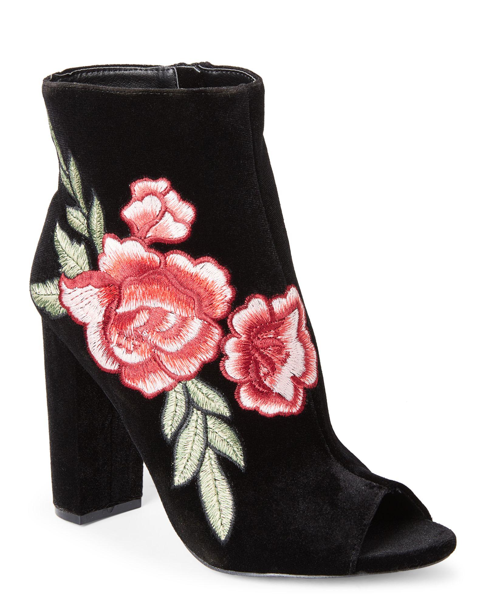 2c5e93331d7 Black Morris Embroidered Peep Toe Booties