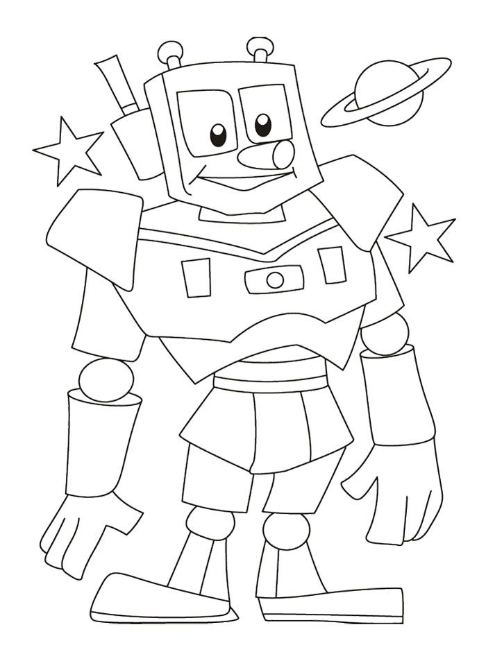 Robots Are Cute And The Packed Coloring Page | Coloring ...