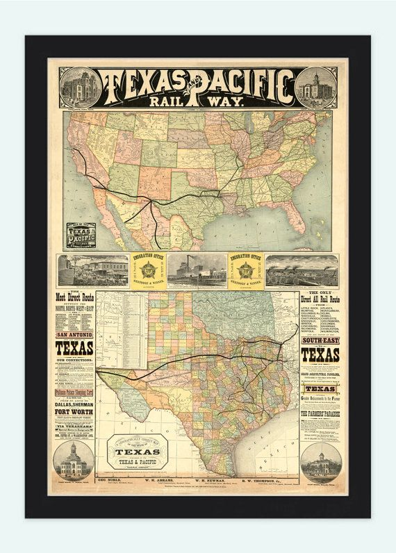 Old Map Texas Pacific Railway 1876 United States of America The Map