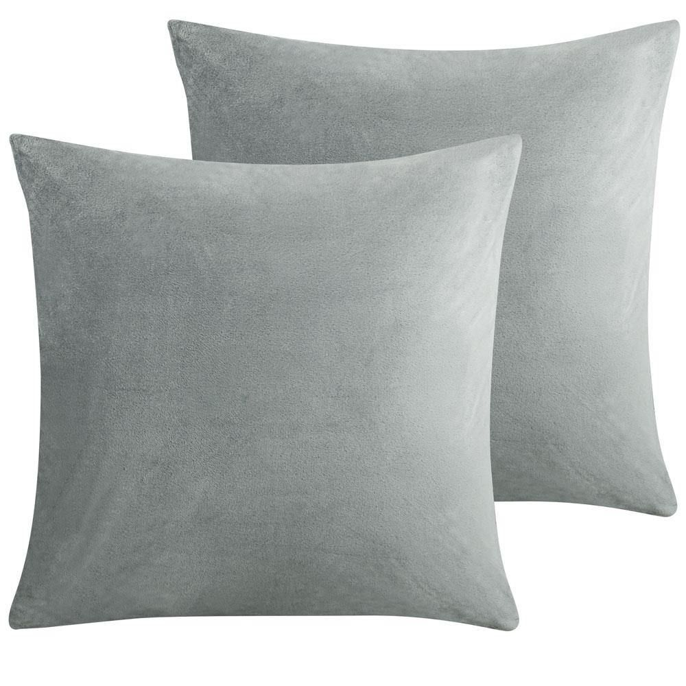 2 Pack Cozy Velvet Throw Pillow Cover - 16 x 16 inches / Light Grey