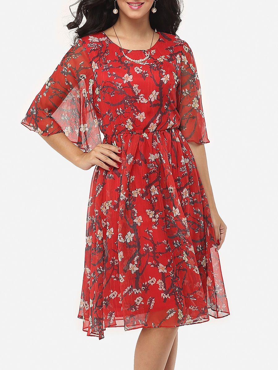 #AdoreWe #FashionMia Skater Dresses - FashionMia Floral Printed Cape Sleeve Exquisite Round Neck Skater-dress - AdoreWe.com