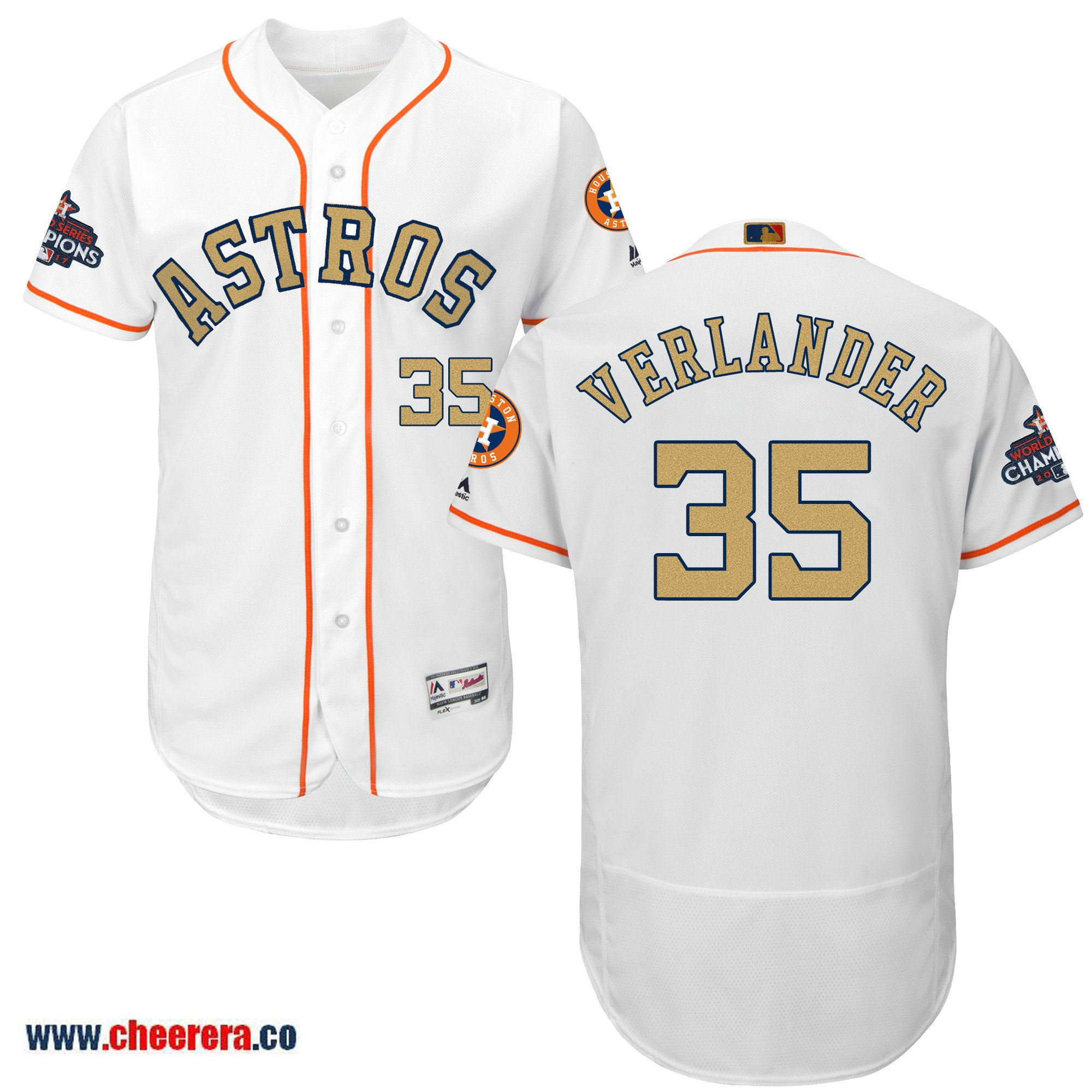 premium selection 80e36 09cdb Astros 35 Justin Verlander White 2018 Gold Program Flexbase ...