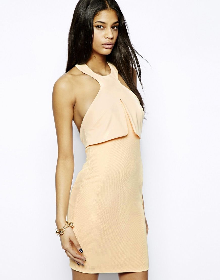 AQ AQ Leah Mini Dress with High Neck and Low Back in Nude