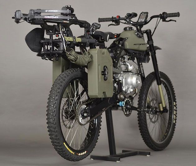 """A motorized bike for post-apocalyptic regulating. """"The Survival Bike: Black Ops Edition hits the trail with a compound crossbow, fuel storage, shovel, tomahawk, harpoon, blade saw, climbing gear, lights and a smattering of tools and knives."""" - from Motoped"""