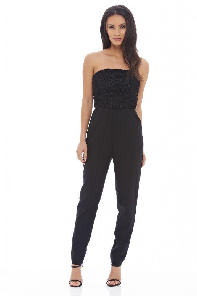 b831a84357b AX Paris Womens Black Strapless Lace Top Jumpsuit Glamorous Stylish Fashion