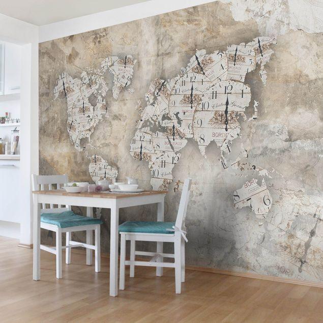 Carta da parati mappamondo Premium Mappa del mondo con
