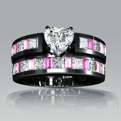 1 Ring White Heart Cubic Zirconia Black Engagement Ring Wedding