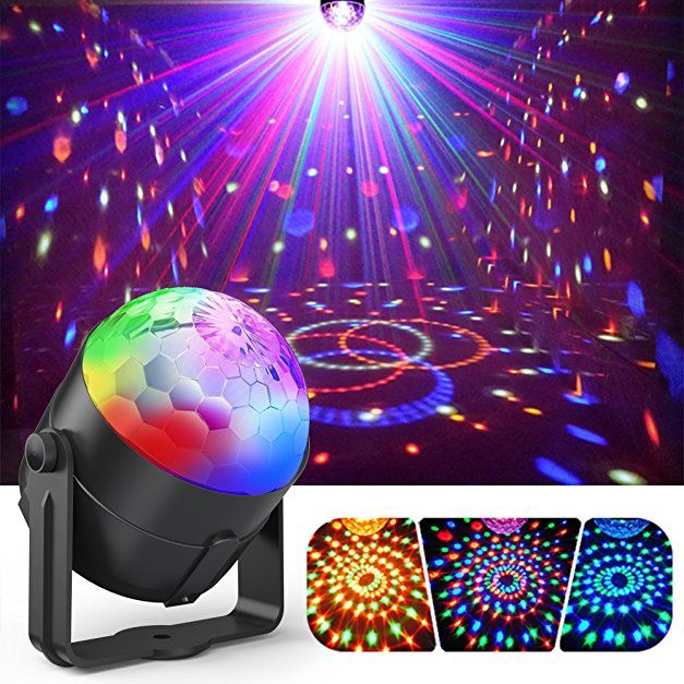 Party Lights, Gvoo Sound Activated DJ Disco Lights Rotating Ball