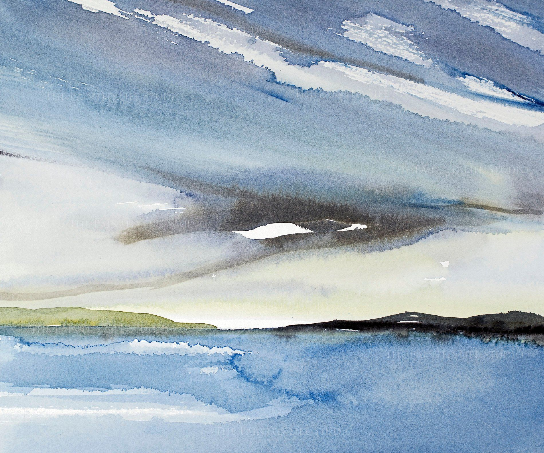 Afternoon Clouds Fine Art Print From Original Watercolor Painting