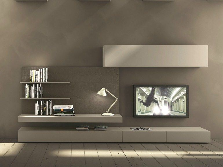 Sectional wall mounted tv wall system i modulart 277 for Presotto industrie mobili spa