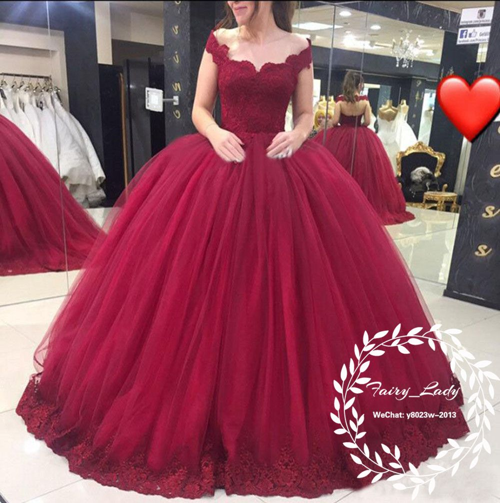5614b2f4aa6 Plus Size Girls Sweet 16 Quinceanera Dresses 2018 Burgundy Lace Long Off  Shoulder Vestidos Puffy Ball Gown Pageant Prom Dress Formal Party