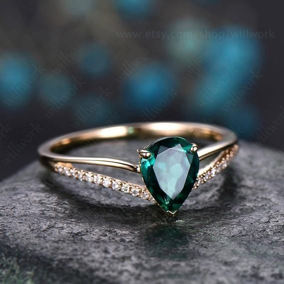 Photo of Pear cut emerald engagement ring 14k yellow gold diamond ring split shank stacking band gift unique antique wedding promise anniversary ring