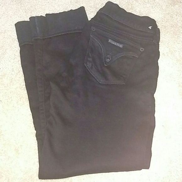 Hudson Cropped Jeans Beautifully soft black cuffed crops. Lots of stretch in them. Reinforced back seam (2nd photo). Some stretch in croth area but not noticeable when they're on, I promise!! Hudson Jeans Jeans Ankle & Cropped