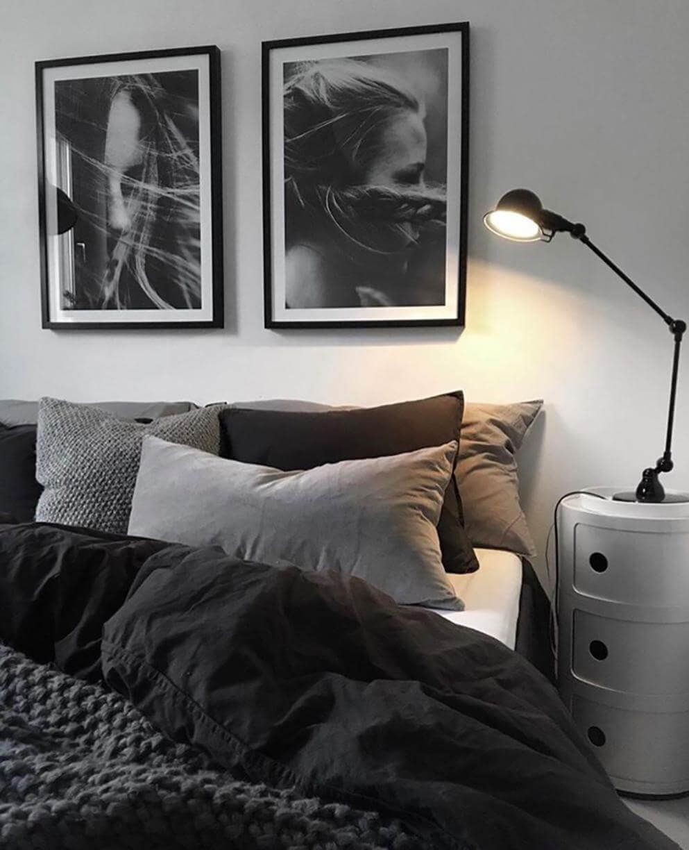 Grey And Black Bedroom With Photography