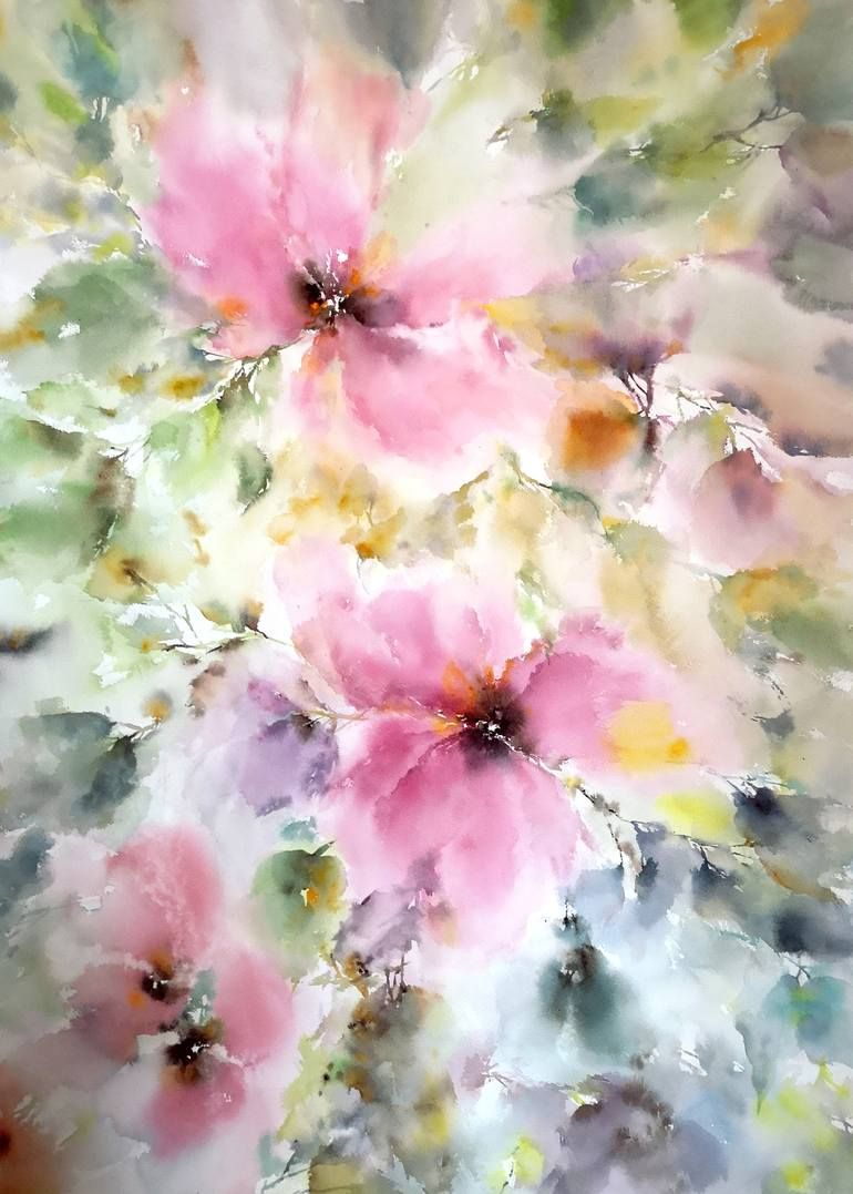Original Floral Painting By Olga Grigorevykh Abstract Art On
