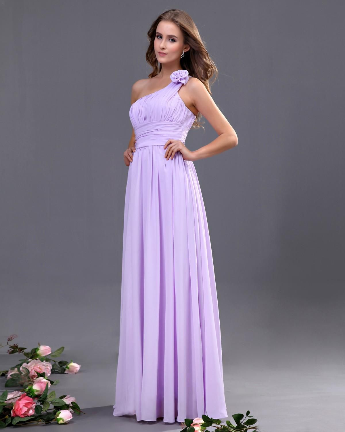 One Shoulder Chiffon Floor Length A-line Bridesmaid Dress | My ...